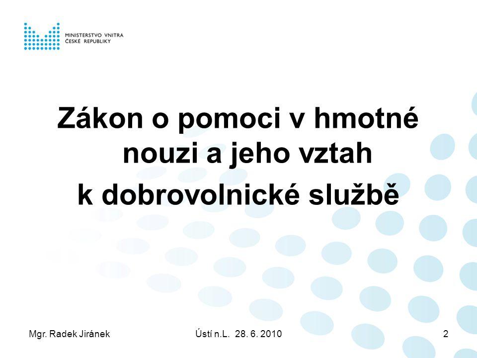 Mgr. Radek JiránekÚstí n.L. 28. 6. 20102 Zákon o pomoci v hmotné nouzi a jeho vztah k dobrovolnické službě