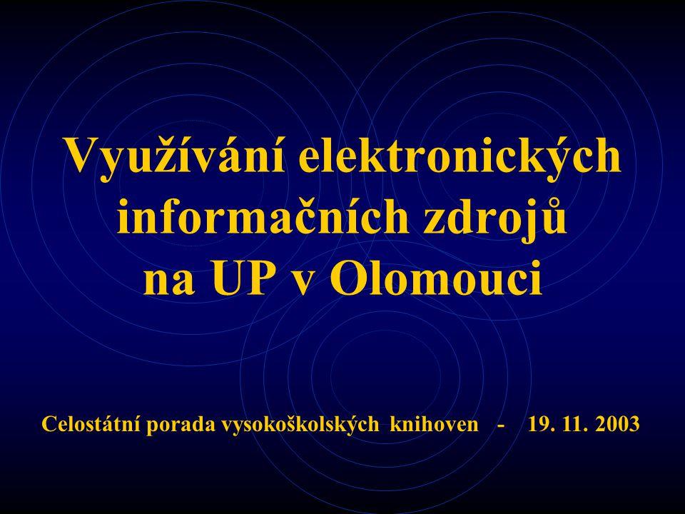 Využívání elektronických informačních zdrojů na UP v Olomouci Celostátní porada vysokoškolských knihoven - 19.