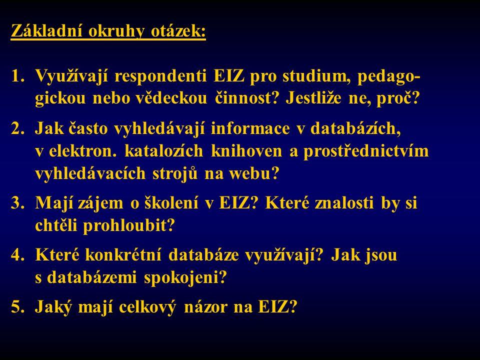 Základní okruhy otázek: 1.Využívají respondenti EIZ pro studium, pedago- gickou nebo vědeckou činnost.