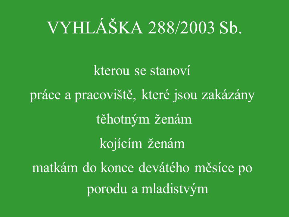 VYHLÁŠKA 288/2003 Sb. kterou se stanoví práce a pracoviště, které jsou zakázány těhotným ženám kojícím ženám matkám do konce devátého měsíce po porodu