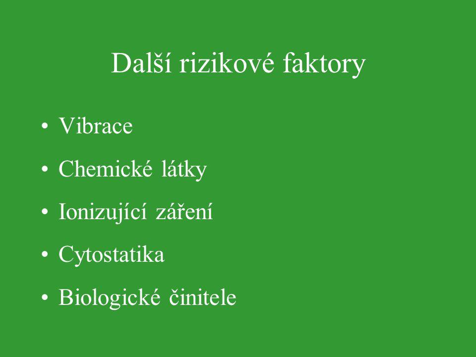 Další rizikové faktory Vibrace Chemické látky Ionizující záření Cytostatika Biologické činitele