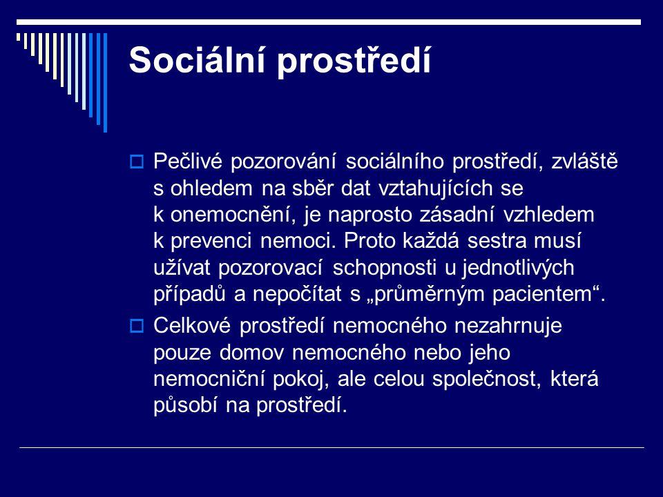 Sociální prostředí  Pečlivé pozorování sociálního prostředí, zvláště s ohledem na sběr dat vztahujících se k onemocnění, je naprosto zásadní vzhledem