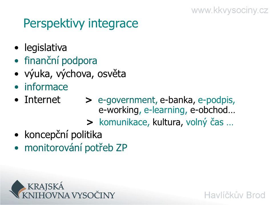 Perspektivy integrace legislativa finanční podpora výuka, výchova, osvěta informace Internet > e-government, e-banka, e-podpis, e-working, e-learning, e-obchod… > komunikace, kultura, volný čas … koncepční politika monitorování potřeb ZP