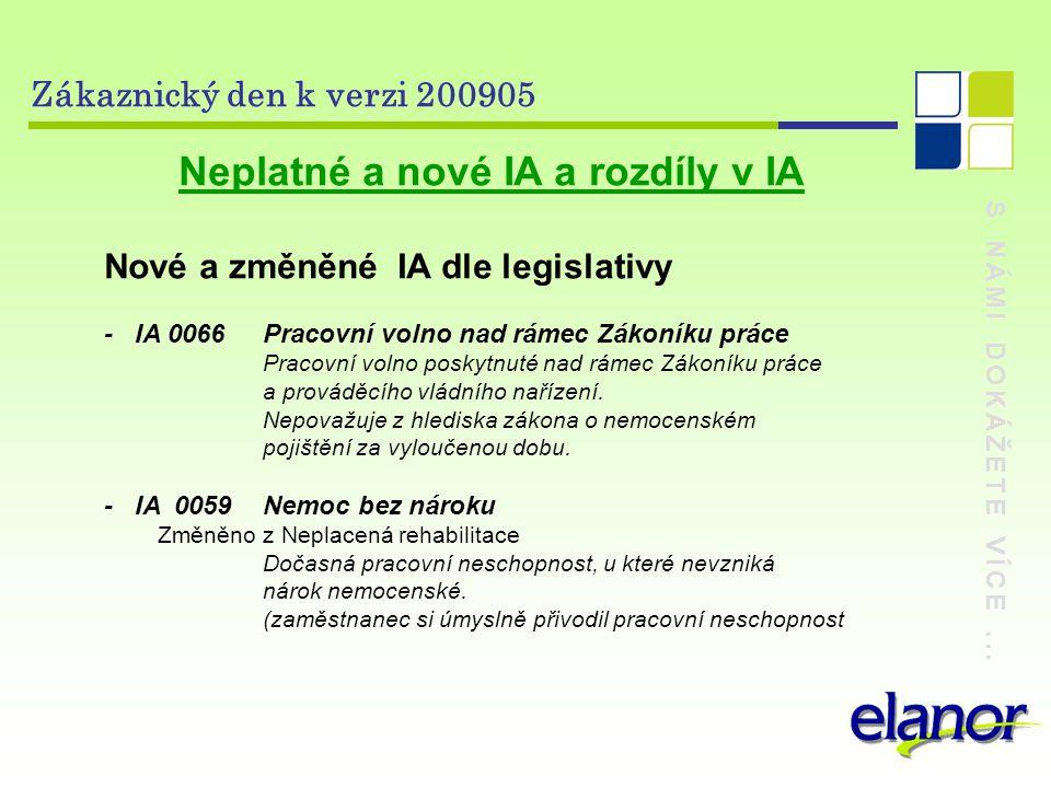 S NÁMI DOKÁŽETE VÍCE... Zákaznický den k verzi 200905 Neplatné a nové IA a rozdíly v IA Nové a změněné IA dle legislativy - IA 0066 Pracovní volno nad
