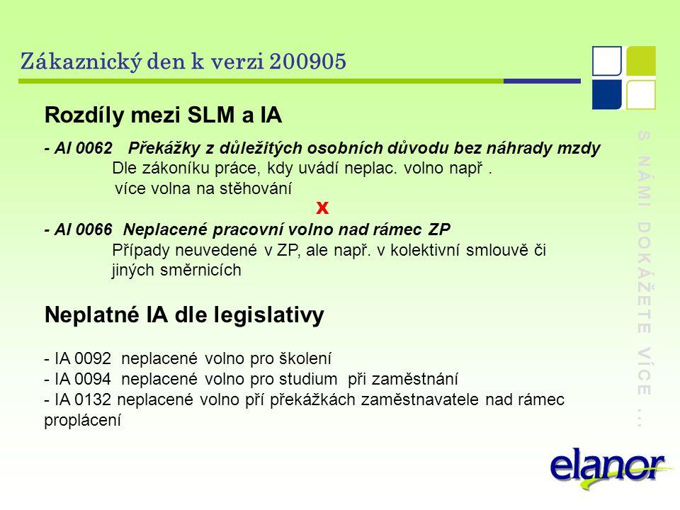 S NÁMI DOKÁŽETE VÍCE... Zákaznický den k verzi 200905 Rozdíly mezi SLM a IA - AI 0062 Překážky z důležitých osobních důvodu bez náhrady mzdy Dle zákon