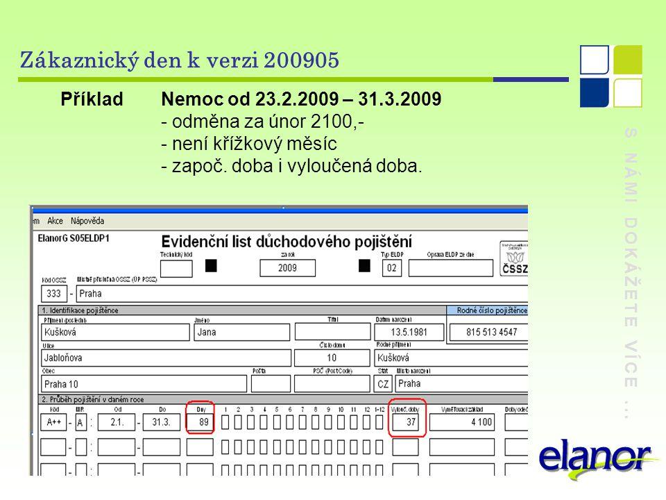 S NÁMI DOKÁŽETE VÍCE... Zákaznický den k verzi 200905 Příklad Nemoc od 23.2.2009 – 31.3.2009 - odměna za únor 2100,- - není křížkový měsíc - započ. do