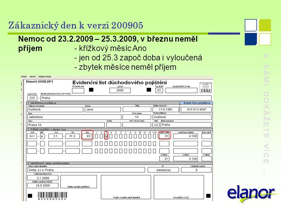 S NÁMI DOKÁŽETE VÍCE... Zákaznický den k verzi 200905 Nemoc od 23.2.2009 – 25.3.2009, v březnu neměl příjem- křížkový měsíc Ano - jen od 25.3 započ do