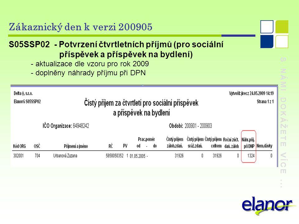 S NÁMI DOKÁŽETE VÍCE... Zákaznický den k verzi 200905 S05SSP02 - Potvrzení čtvrtletních příjmů (pro sociální příspěvek a příspěvek na bydlení) - aktua