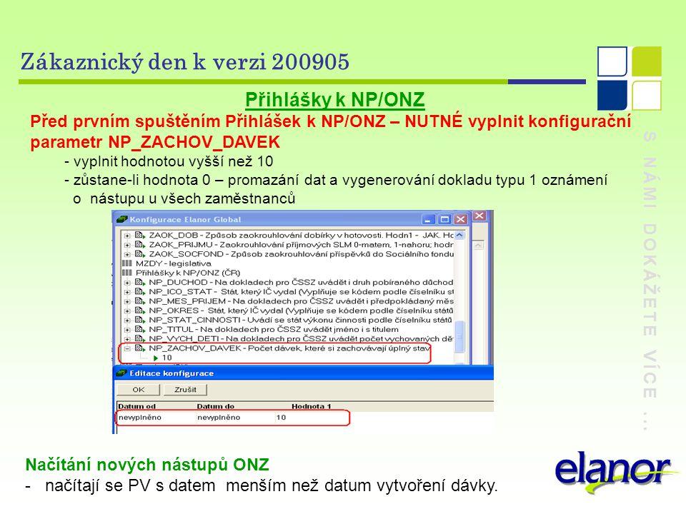 S NÁMI DOKÁŽETE VÍCE... Zákaznický den k verzi 200905 Přihlášky k NP/ONZ Před prvním spuštěním Přihlášek k NP/ONZ – NUTNÉ vyplnit konfigurační paramet