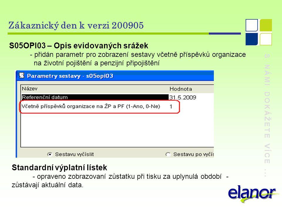 S NÁMI DOKÁŽETE VÍCE... Zákaznický den k verzi 200905 S05OPI03 – Opis evidovaných srážek - přidán parametr pro zobrazení sestavy včetně příspěvků orga