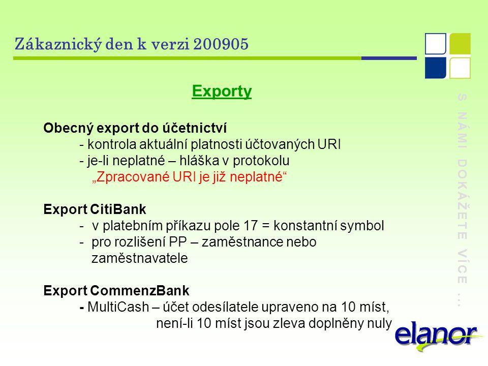 S NÁMI DOKÁŽETE VÍCE... Zákaznický den k verzi 200905 Exporty Obecný export do účetnictví - kontrola aktuální platnosti účtovaných URI - je-li neplatn