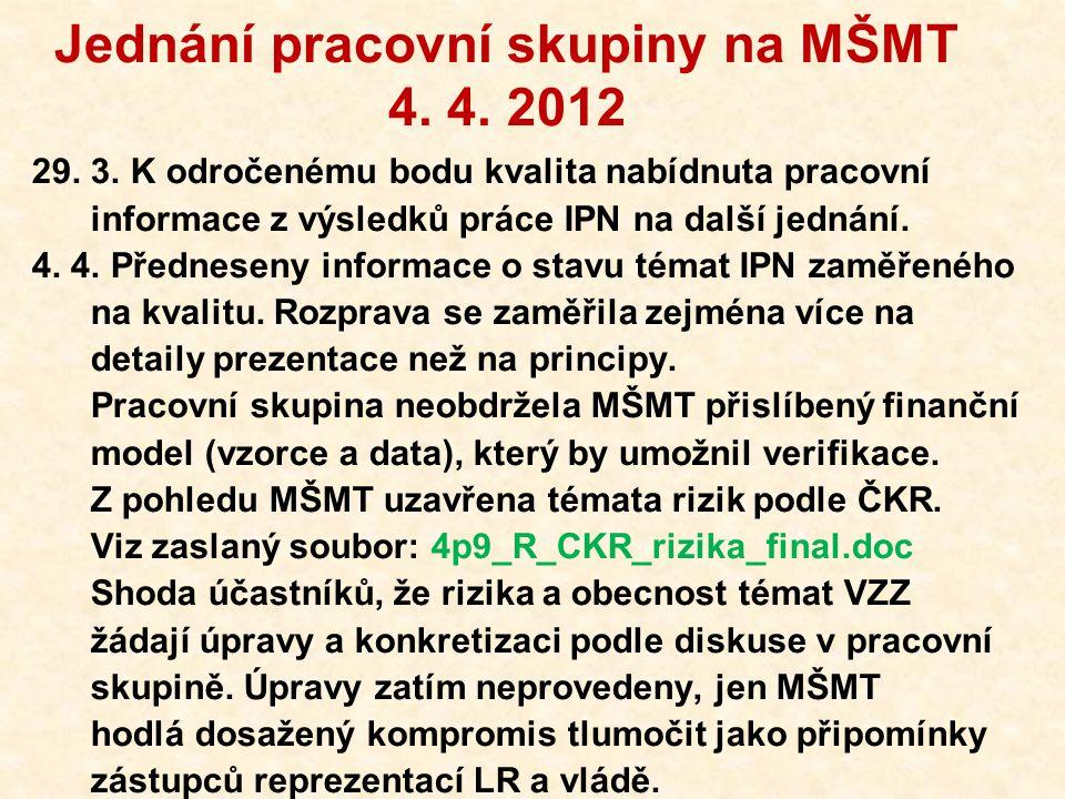 Jednání pracovní skupiny na MŠMT 4. 4. 2012 29. 3. K odročenému bodu kvalita nabídnuta pracovní informace z výsledků práce IPN na další jednání. 4. 4.