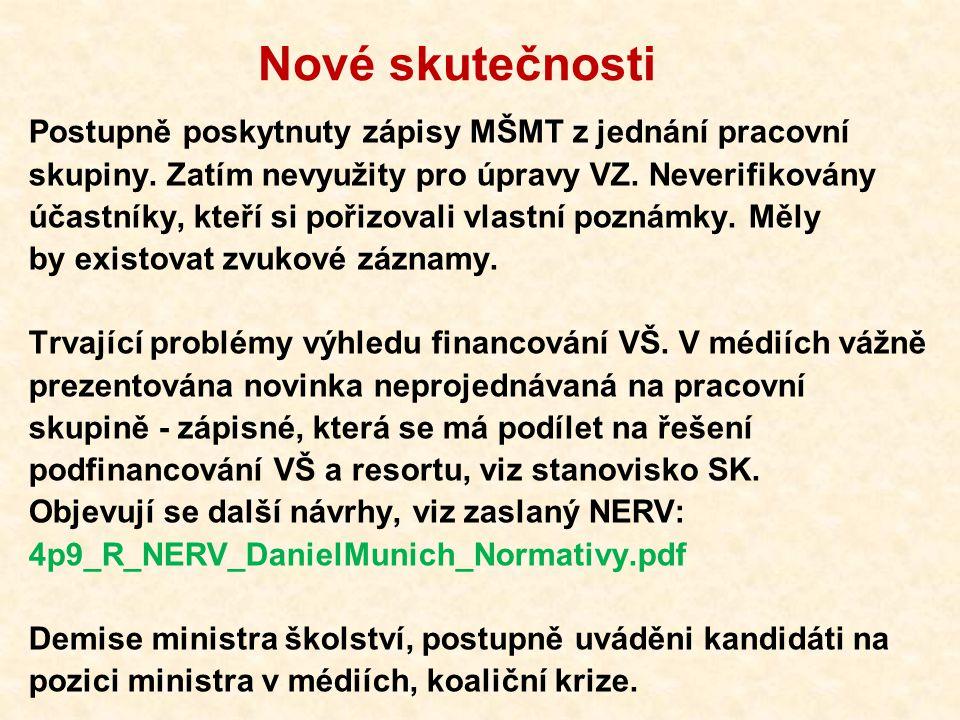 Nové skutečnosti Postupně poskytnuty zápisy MŠMT z jednání pracovní skupiny. Zatím nevyužity pro úpravy VZ. Neverifikovány účastníky, kteří si pořizov
