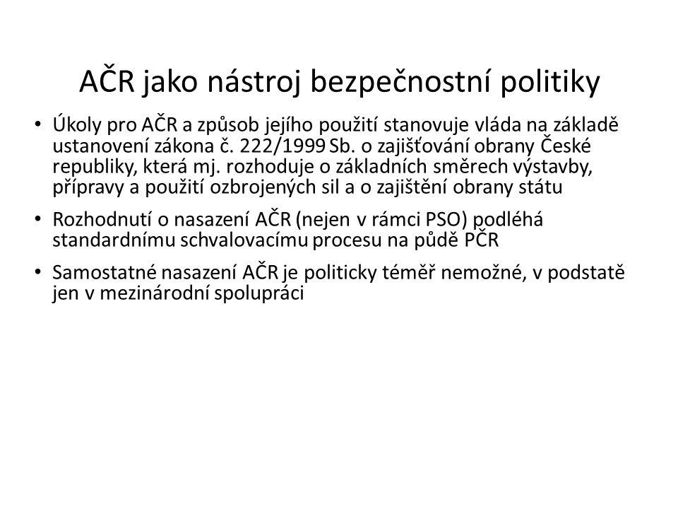 AČR jako nástroj bezpečnostní politiky Úkoly pro AČR a způsob jejího použití stanovuje vláda na základě ustanovení zákona č. 222/1999 Sb. o zajišťován