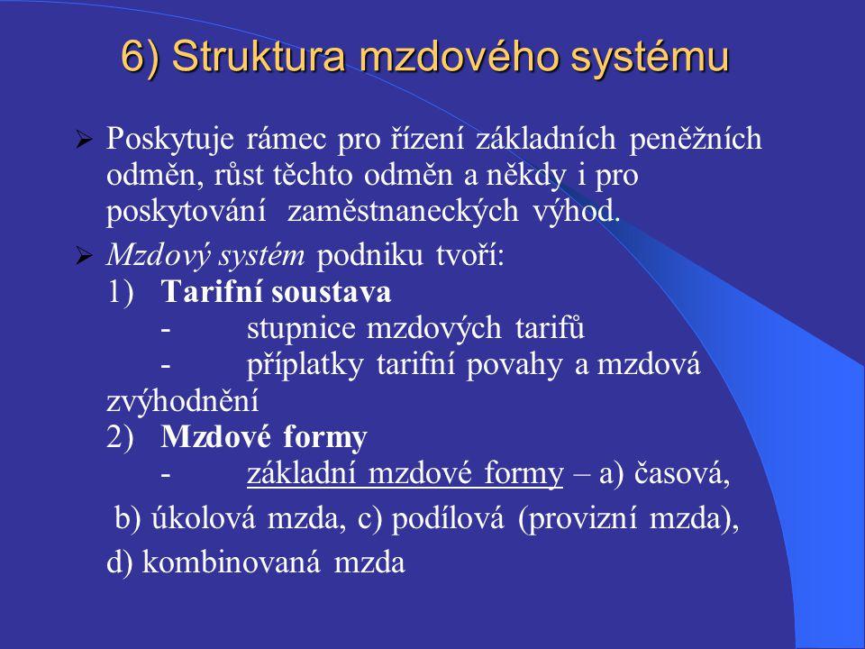 6) Struktura mzdového systému  Poskytuje rámec pro řízení základních peněžních odměn, růst těchto odměn a někdy i pro poskytování zaměstnaneckých výhod.