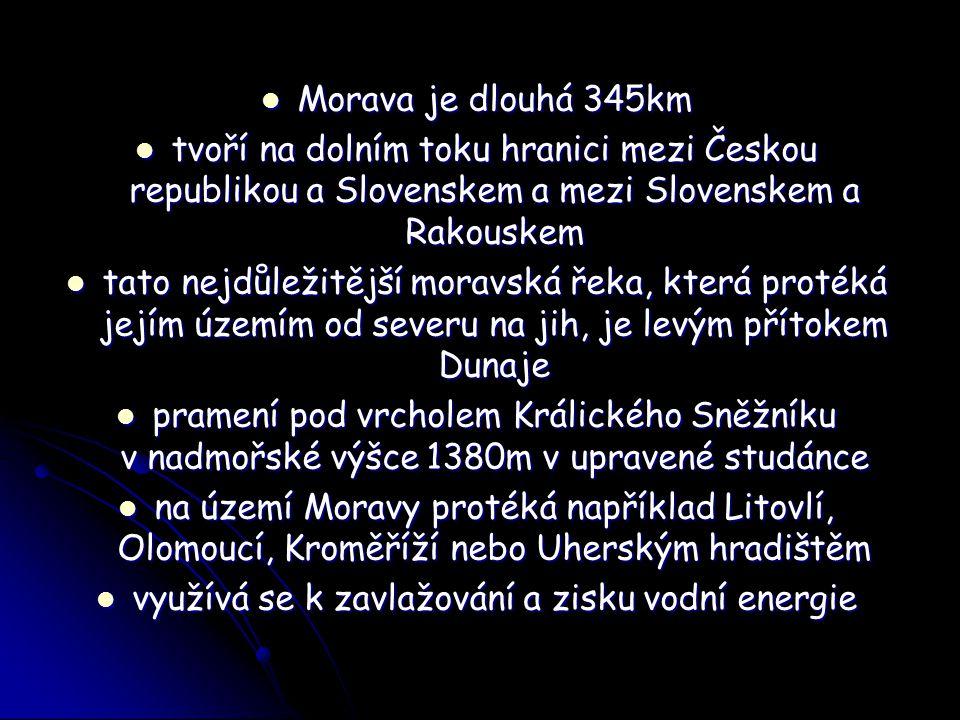 Morava je dlouhá 345km Morava je dlouhá 345km tvoří na dolním toku hranici mezi Českou republikou a Slovenskem a mezi Slovenskem a Rakouskem tvoří na