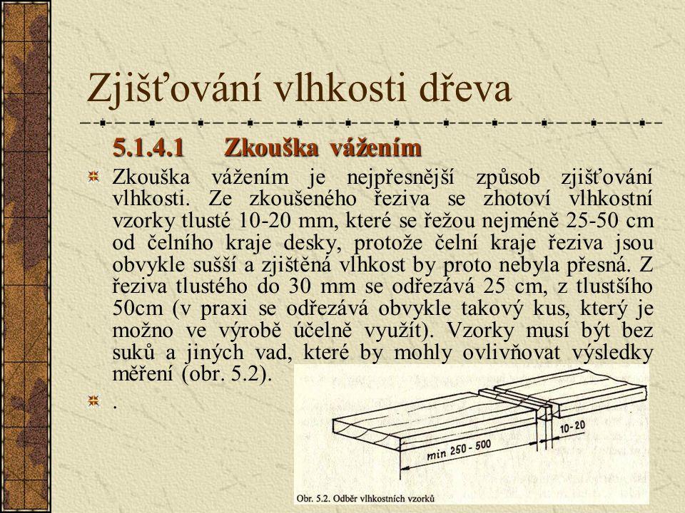 5.1.4Zjišťování vlhkosti dřeva Vlhkost dřeva zjišťujeme před sušením, abychom mohli stanovit vhodný sušící režim, po vysušení pro kontrolu, zda má dře