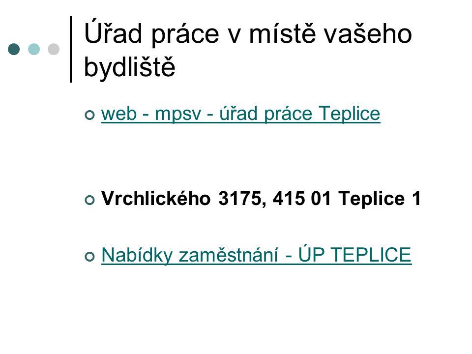 Úřad práce v místě vašeho bydliště web - mpsv - úřad práce Teplice Vrchlického 3175, 415 01 Teplice 1 Nabídky zaměstnání - ÚP TEPLICE