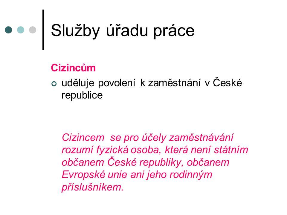 Služby úřadu práce Cizincům uděluje povolení k zaměstnání v České republice Cizincem se pro účely zaměstnávání rozumí fyzická osoba, která není státním občanem České republiky, občanem Evropské unie ani jeho rodinným příslušníkem.