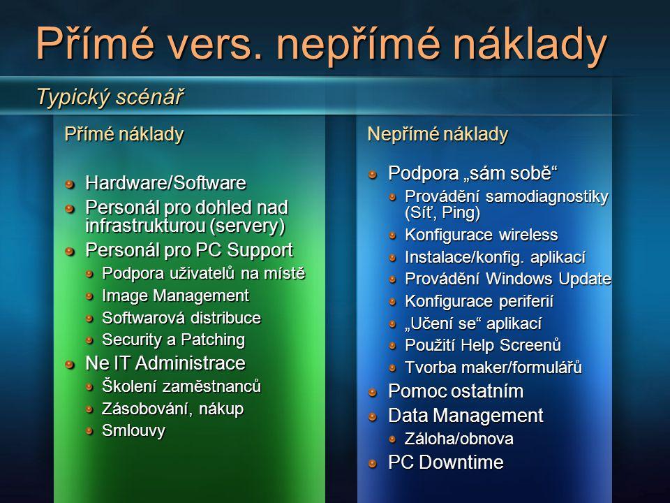 """Technologie """"Better Together Scénář Náklady na práci IT # doporuč ených postupů Použité doporučené postupy Stupeň IT vyzrálosti Průměrn é $/PC Kombinace vhodných technologií a doporučených postupů sníží náklady na provoz IT na $261/PC AD/GPO umožní více šetřit náklady lépe než samotná Vista Vista + AD/GPO + SMS $3965 OS FW Inst Set Dist Racionální $382 Vista + AD/GPO + SMS + APR $3676 OS FW APR Inst Set SW Dist Vista + AD/GPO + SMS + APR + další $2616 OS FW APR Inst Set SW Dist (+) Windows XP SP2 + AD/GPO $5073 OS FW Set Standardní $505 Vista + AD/GPO $4723 OS FW Set Windows XP + Windows 2000 $6440žádnéZákladní$587 Windows XP SP2 $5761 OS OS Vista$5411"""