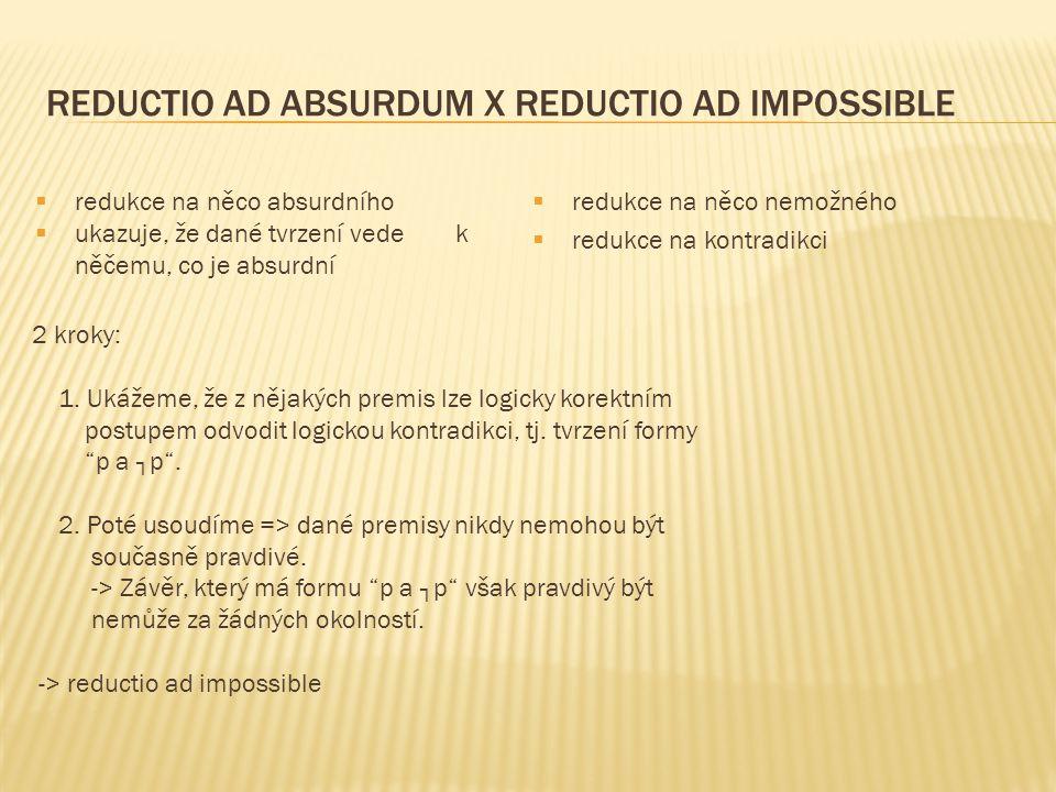 REDUCTIO AD ABSURDUM X REDUCTIO AD IMPOSSIBLE  redukce na něco nemožného  redukce na kontradikci  redukce na něco absurdního  ukazuje, že dané tvrzení vede k něčemu, co je absurdní 2 kroky: 1.