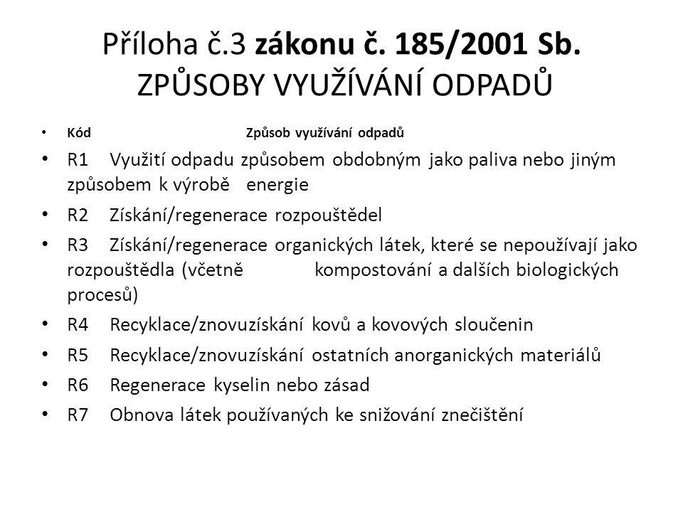 Příloha č.3 zákonu č. 185/2001 Sb. ZPŮSOBY VYUŽÍVÁNÍ ODPADŮ Kód Způsob využívání odpadů R1 Využití odpadu způsobem obdobným jako paliva nebo jiným způ