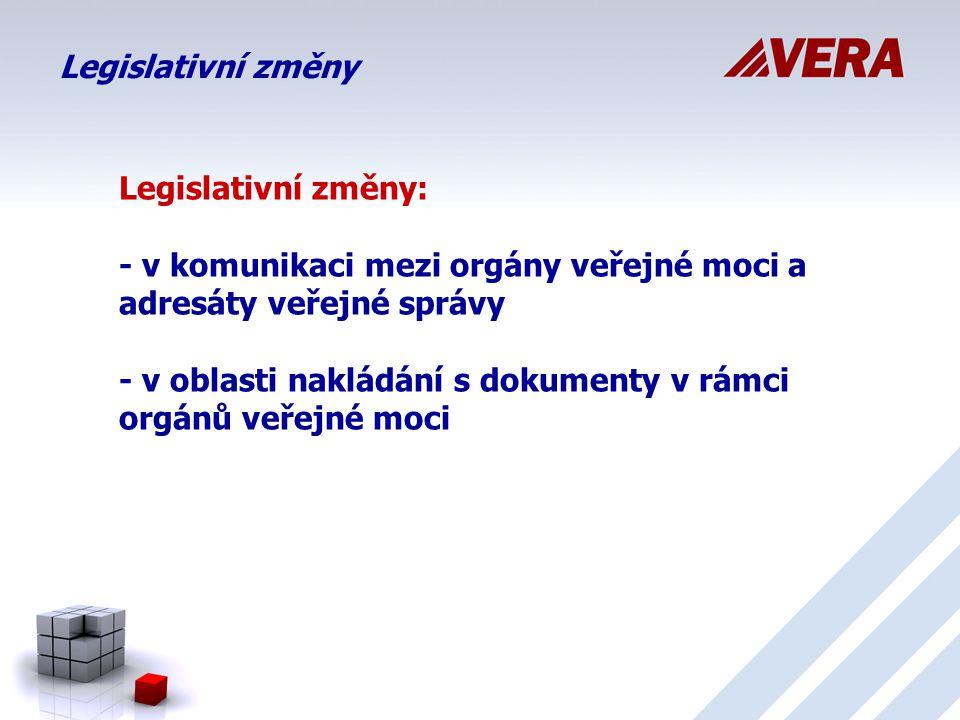 Legislativní změny Legislativní změny: - v komunikaci mezi orgány veřejné moci a adresáty veřejné správy - v oblasti nakládání s dokumenty v rámci orgánů veřejné moci