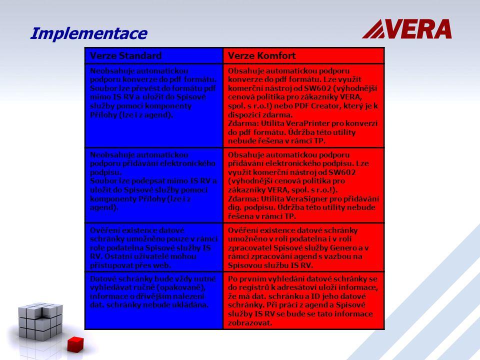 Implementace Verze StandardVerze Komfort Neobsahuje automatickou podporu konverze do pdf formátu.