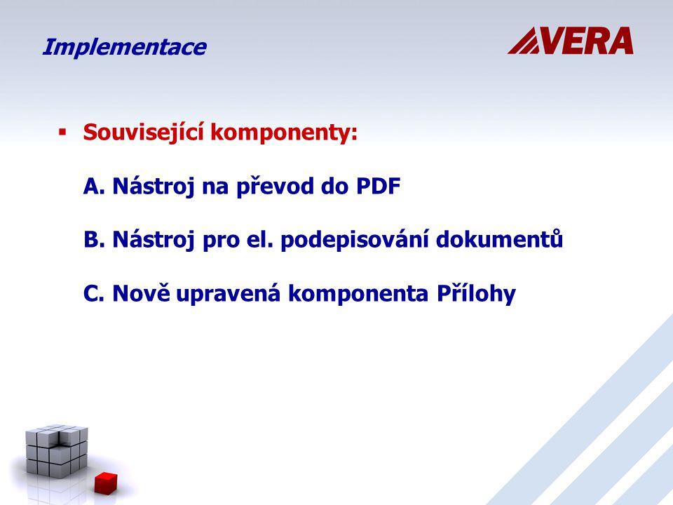 Implementace  Související komponenty: A.Nástroj na převod do PDF B.