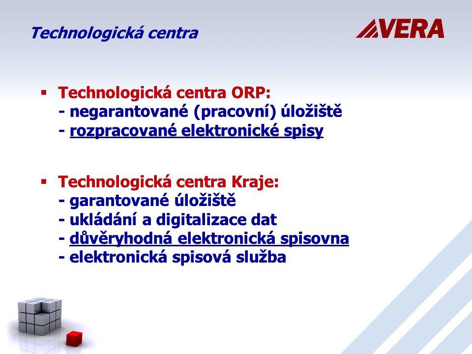 Technologická centra  Technologická centra ORP: - negarantované (pracovní) úložiště - rozpracované elektronické spisy  Technologická centra Kraje: - garantované úložiště - ukládání a digitalizace dat - důvěryhodná elektronická spisovna - elektronická spisová služba  Technologická centra ORP: - negarantované (pracovní) úložiště - rozpracované elektronické spisy  Technologická centra Kraje: - garantované úložiště - ukládání a digitalizace dat - důvěryhodná elektronická spisovna - elektronická spisová služba