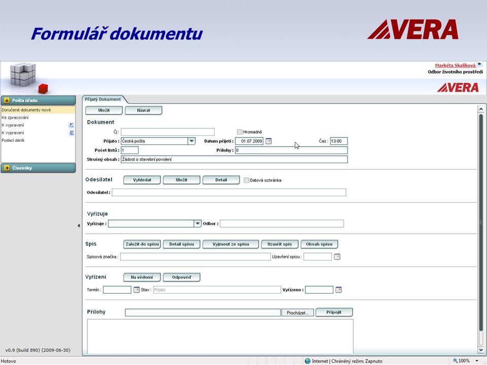 Formulář dokumentu