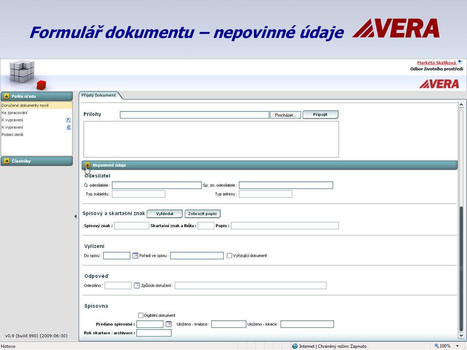 Formulář dokumentu – nepovinné údaje