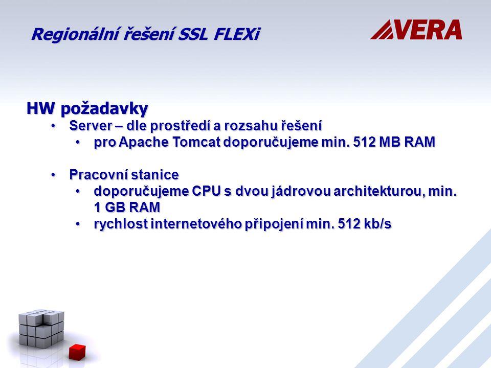Regionální řešení SSL FLEXi HW požadavky Server – dle prostředí a rozsahu řešeníServer – dle prostředí a rozsahu řešení pro Apache Tomcat doporučujeme min.