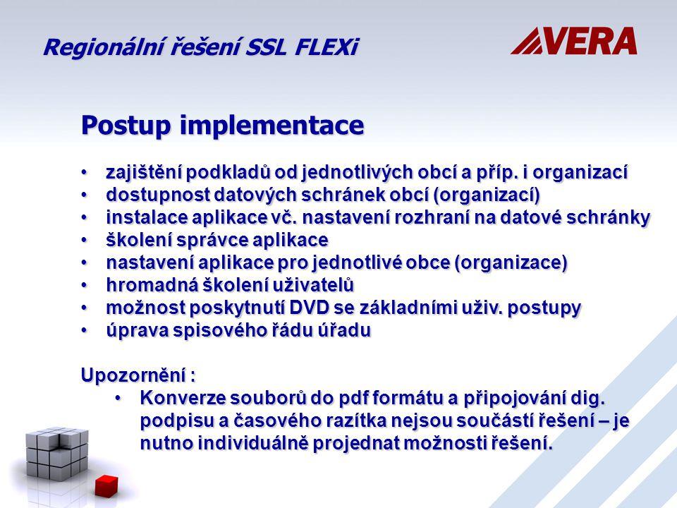 Regionální řešení SSL FLEXi Postup implementace zajištění podkladů od jednotlivých obcí a příp.