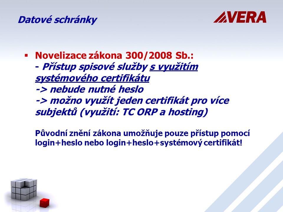 Datové schránky  Novelizace zákona 300/2008 Sb.: - Přístup spisové služby s využitím systémového certifikátu -> nebude nutné heslo -> možno využít jeden certifikát pro více subjektů (využití: TC ORP a hosting) Původní znění zákona umožňuje pouze přístup pomocí login+heslo nebo login+heslo+systémový certifikát!