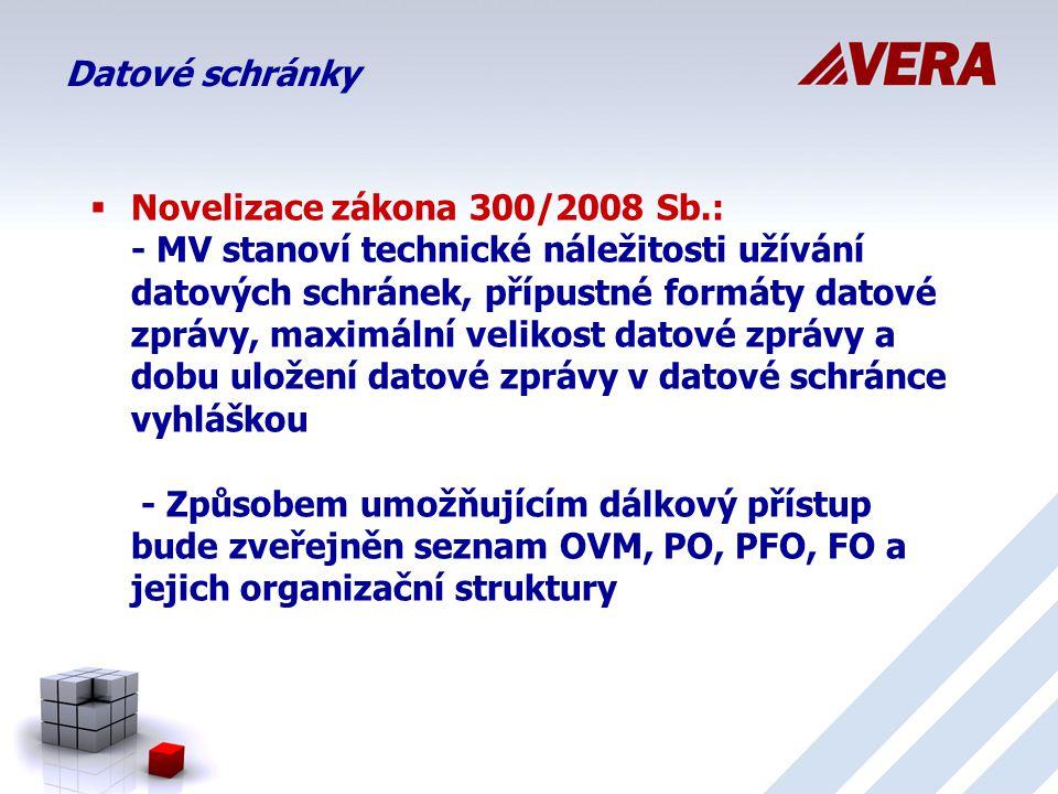 Datové schránky  Novelizace zákona 300/2008 Sb.: - MV stanoví technické náležitosti užívání datových schránek, přípustné formáty datové zprávy, maximální velikost datové zprávy a dobu uložení datové zprávy v datové schránce vyhláškou - Způsobem umožňujícím dálkový přístup bude zveřejněn seznam OVM, PO, PFO, FO a jejich organizační struktury