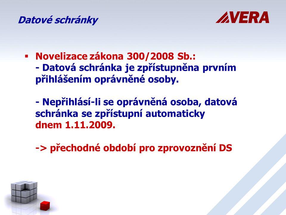 Datové schránky  Novelizace zákona 300/2008 Sb.: - Datová schránka je zpřístupněna prvním přihlášením oprávněné osoby.