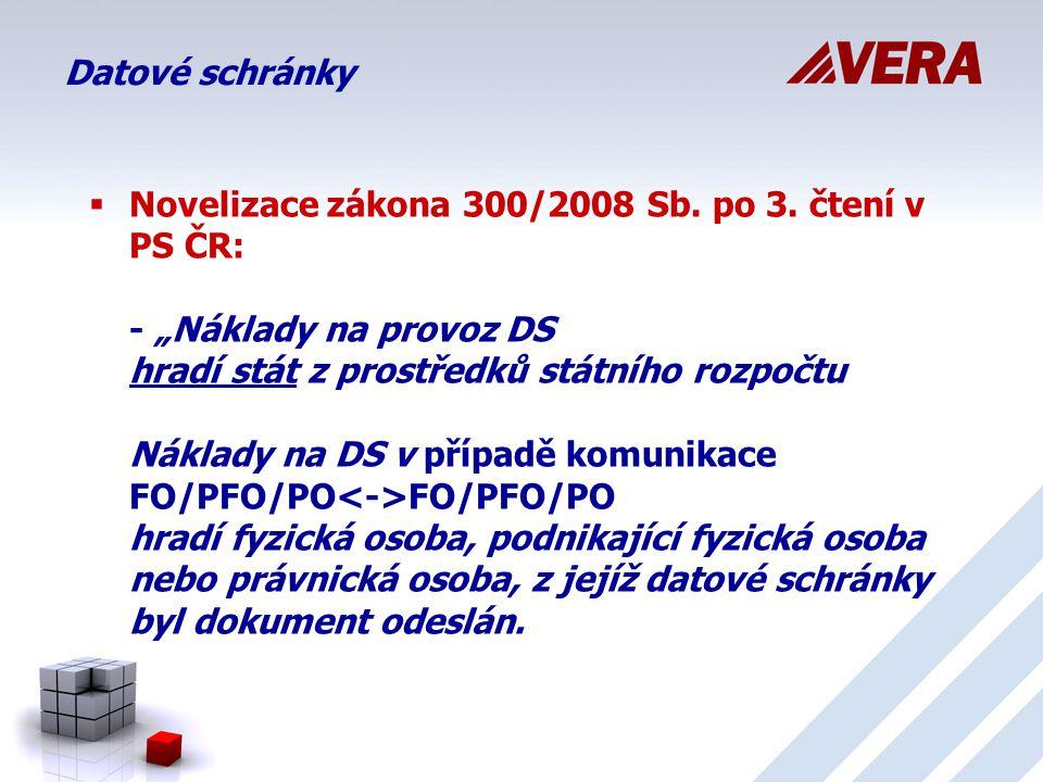 Datové schránky  Novelizace zákona 300/2008 Sb.po 3.