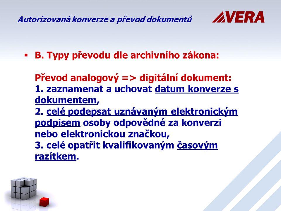  B.Typy převodu dle archivního zákona: Převod analogový => digitální dokument: 1.