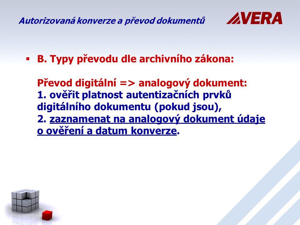  B.Typy převodu dle archivního zákona: Převod digitální => analogový dokument: 1.