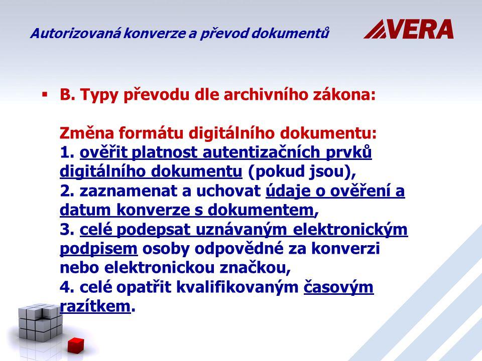  B.Typy převodu dle archivního zákona: Změna formátu digitálního dokumentu: 1.