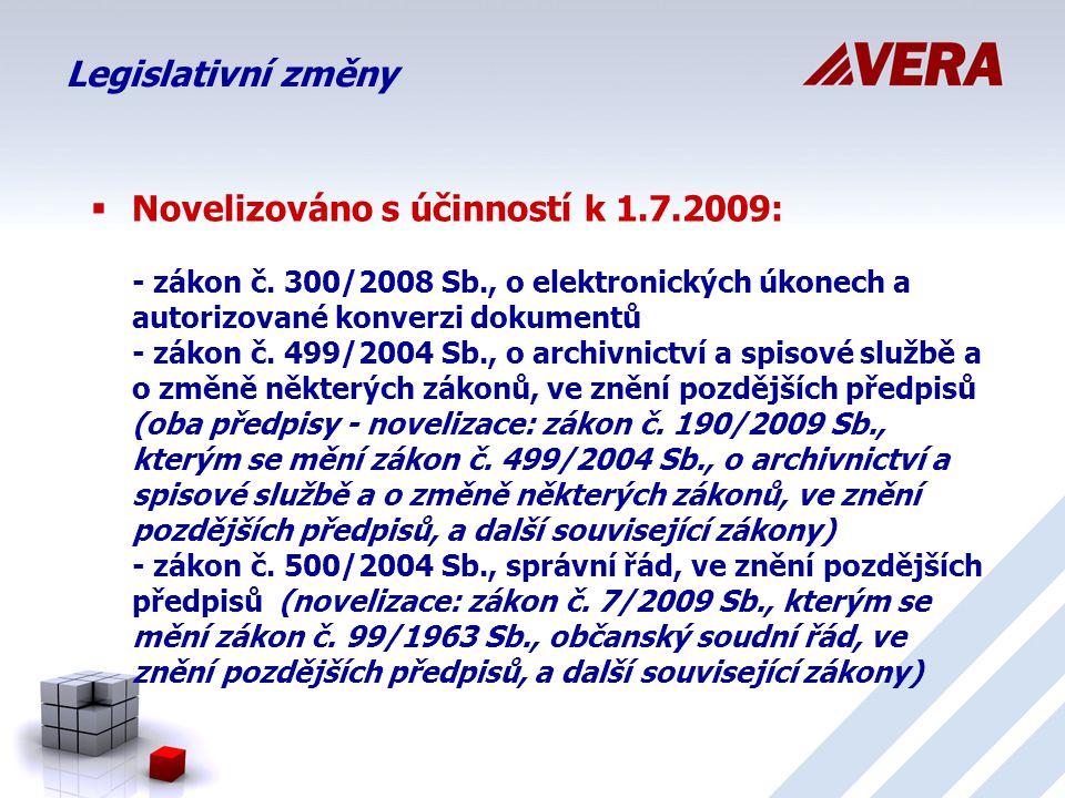 Legislativní změny  Nové prováděcí vyhlášky s účinností k 1.7.2009: - vyhláška č.