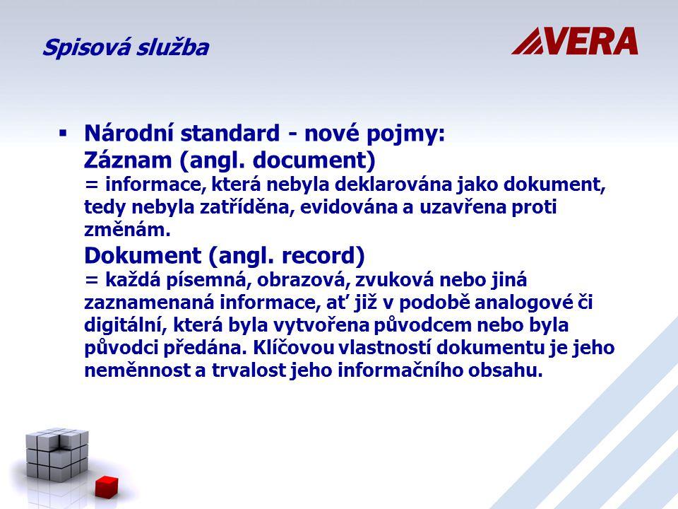 Spisová služba  Národní standard - nové pojmy: Záznam (angl.