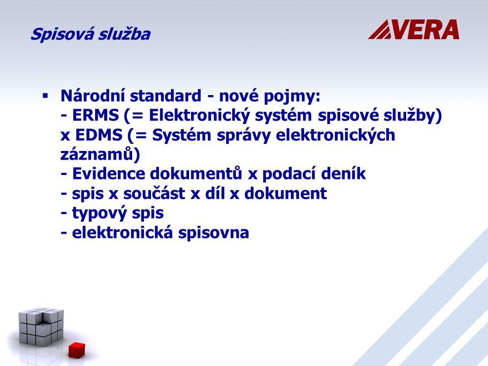 Spisová služba  Národní standard - nové pojmy: - ERMS (= Elektronický systém spisové služby) x EDMS (= Systém správy elektronických záznamů) - Evidence dokumentů x podací deník - spis x součást x díl x dokument - typový spis - elektronická spisovna