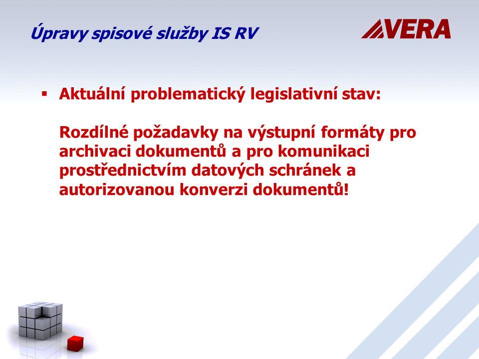 Úpravy spisové služby IS RV  Aktuální problematický legislativní stav: Rozdílné požadavky na výstupní formáty pro archivaci dokumentů a pro komunikaci prostřednictvím datových schránek a autorizovanou konverzi dokumentů!