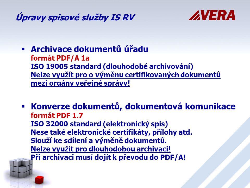 Úpravy spisové služby IS RV  Archivace dokumentů úřadu formát PDF/A 1a ISO 19005 standard (dlouhodobé archivování) Nelze využít pro o výměnu certifikovaných dokumentů mezi orgány veřejné správy.