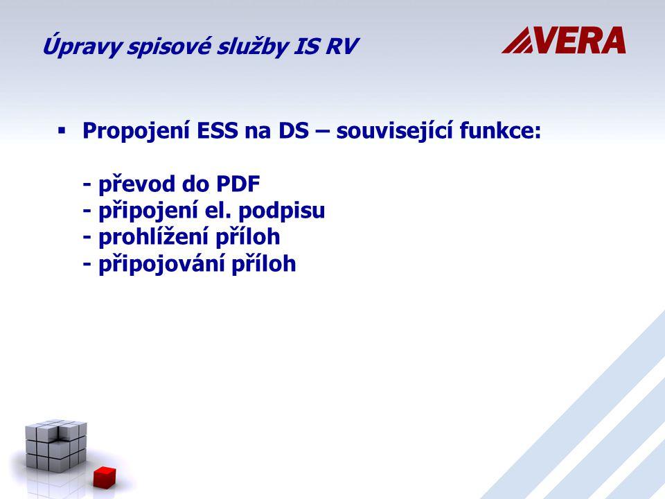 Úpravy spisové služby IS RV  Propojení ESS na DS – související funkce: - převod do PDF - připojení el.