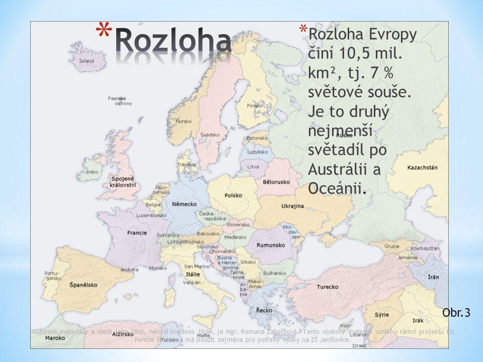 * Rozloha Evropy činí 10,5 mil. km², tj. 7 % světové souše. Je to druhý nejmenší světadíl po Austrálii a Oceánii. Autorem materiálu a všech jeho částí