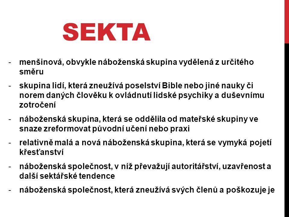 SEKTA -menšinová, obvykle náboženská skupina vydělená z určitého směru -skupina lidí, která zneužívá poselství Bible nebo jiné nauky či norem daných č