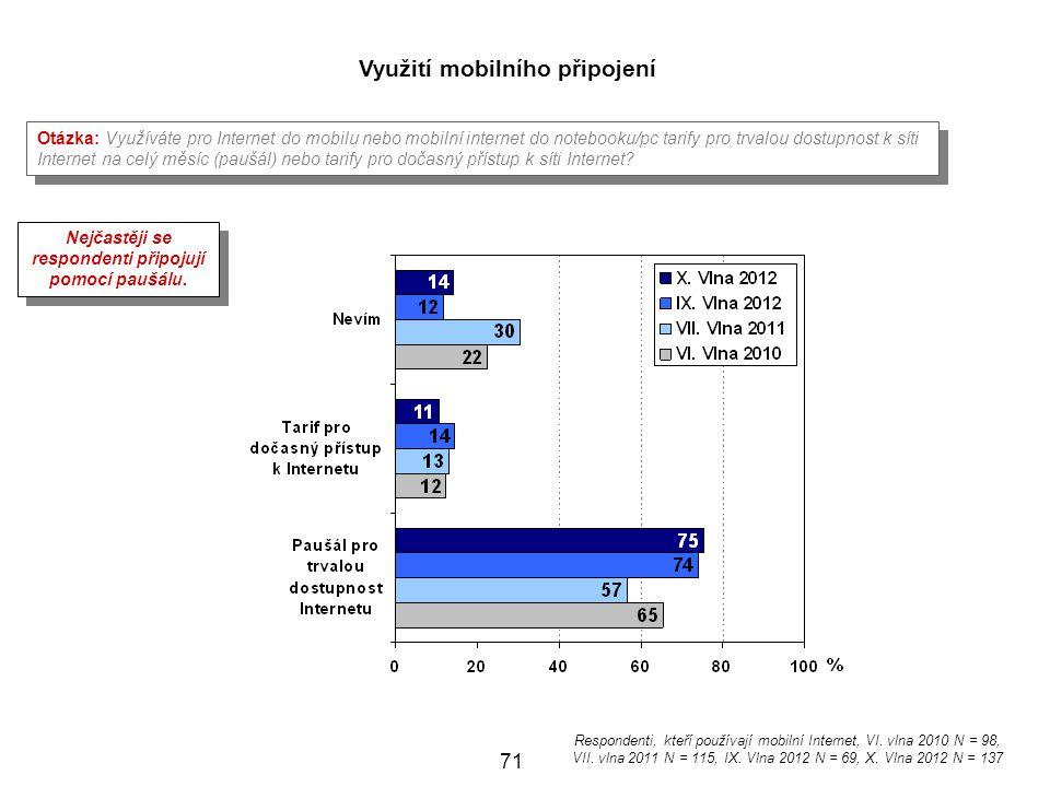 71 Využití mobilního připojení Otázka: Využíváte pro Internet do mobilu nebo mobilní internet do notebooku/pc tarify pro trvalou dostupnost k síti Int